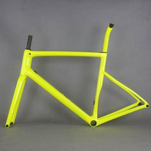 2020 Fluorescent yellow Flat Mount disc carbon road frame Bicycle Frameset T1000 New EPS technology disc carbon frame TT-X19