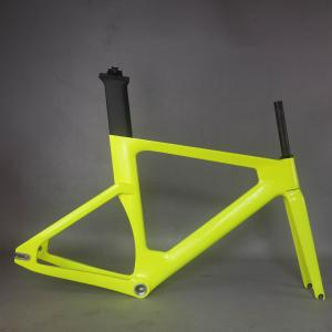 2021 Fluorescen yellow carbon track frame road frames fixed gear bike frameset seat post  carbon bicycle frame